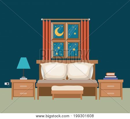 color background of bedroom with window in the night landscape view vector illustration
