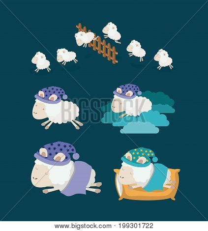 color background with set sheep sleep time icons vector illustration