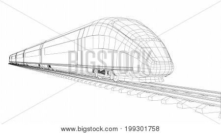 Modern speed train silhouette. Vector rendering of 3d. Wire-frame style