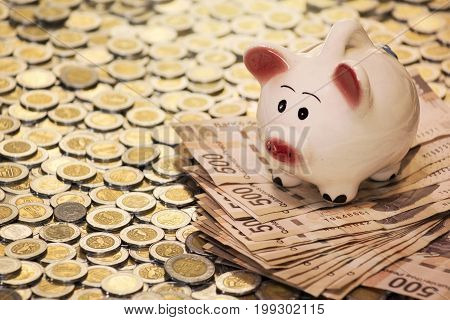 cute piggy bank with bills and coins
