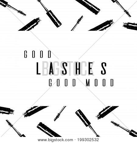 Fashion Typography Inscription: Good Lashes Good Mood. Lash Maker Typography Poster With Background