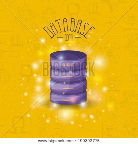 color pattern background with brightness of colorful data base icon with file server vector illustration