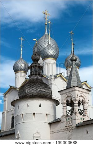 Rostov Kremlin. Belfry of the Assumption Cathedral and Church of the Resurrection of Christ.Golden Ring of Russia. It is part of the UNESCO World Heritage Site. Example of Russian wooden architecture.