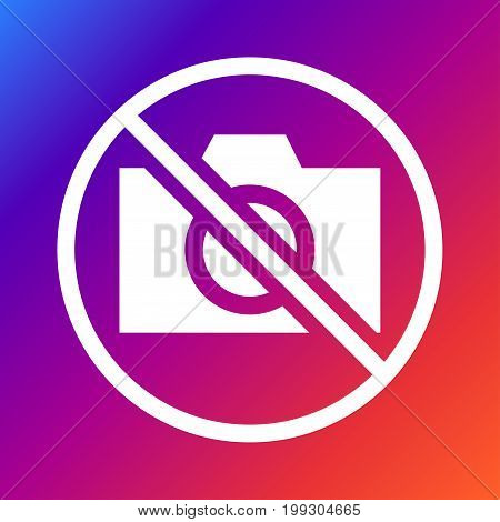 No camera sign vector on colored background. EPS10. Vector