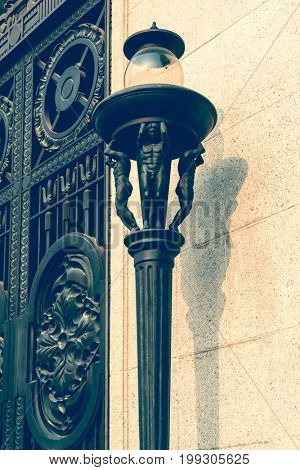 Vintage electric lamp at building,shanghai,china.