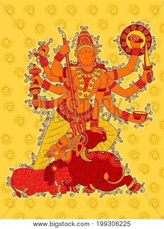Vector design of Vintage statue of Indian Goddess Durga sculpture in India art style