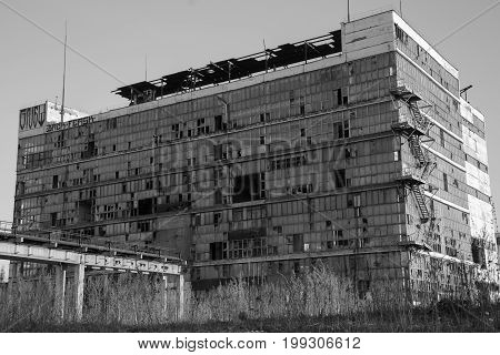 Ecological disaster debris factory black and white background