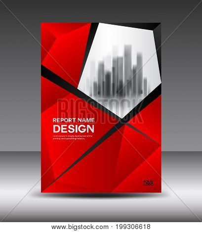 Red Cover design Annual report vector illustration booklet poster annual report template layout in a4 size polygon background