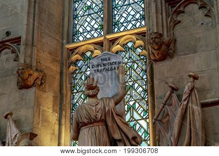 LONDON, GREAT BRITAIN - MAY 23, 2014: It is a fragment of a statue of Britain embodying its naval victories which is set in the Great Hall of Guildhall.