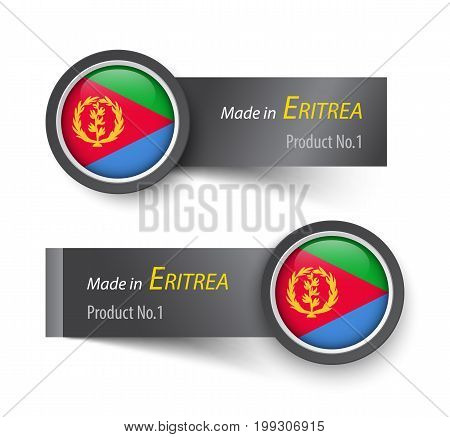 Flag Icon And Label With Text Made In Eritrea