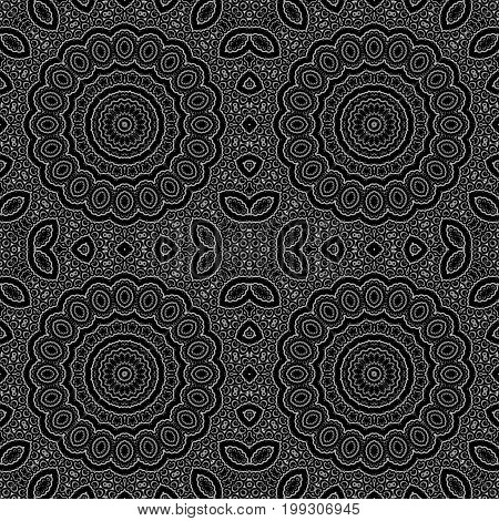 Seamless circle ornamental pattern black background textile