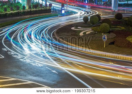 traffic trails on the street in shanghai china.
