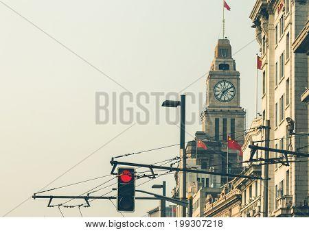 clock tower of waitan/bund,shanghai,china.