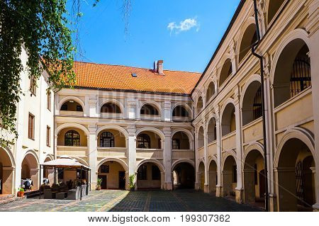 Beauty Vilnius' courtyard in renaissance style. Dormitory and boarding for young boys