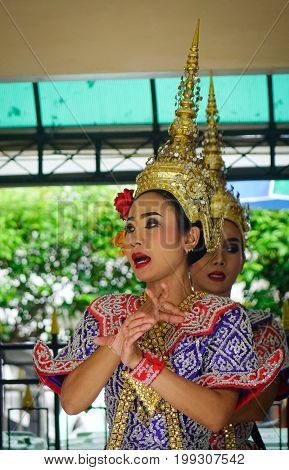 Dancers At The Temple In Bangkok, Thailand