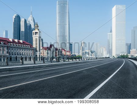 empty urban road in tianjin downtown,china.