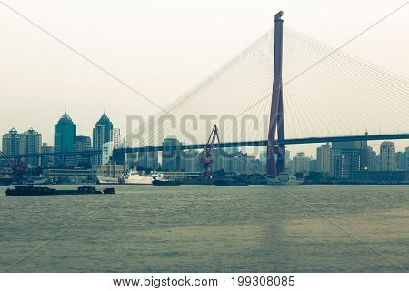 Bridge named Nanpu over Yangtze River,Shanghai,China