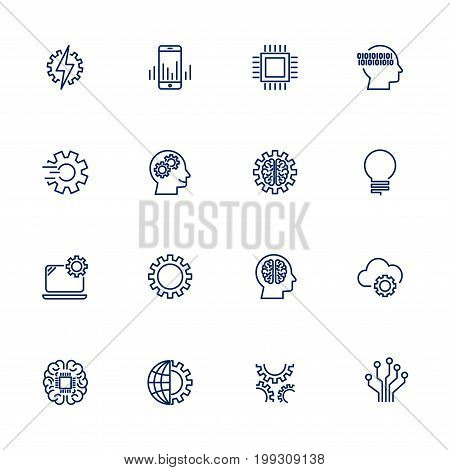 Artificial Intelligence Related Vector Icons. Icon set with editable stroke