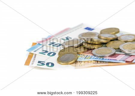 Money euro coins and banknotes bills. European currency money
