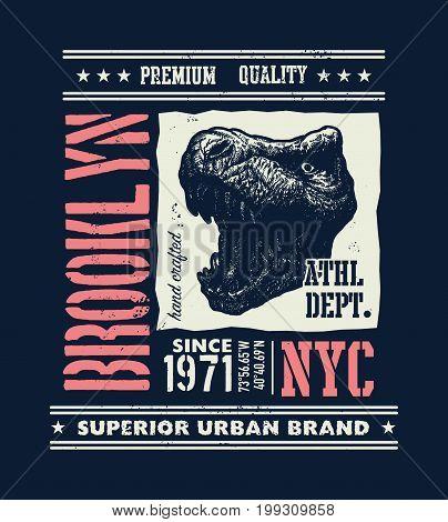 vintage urban typography with tyrannosaurus head, t-shirt graphics, vector illustration