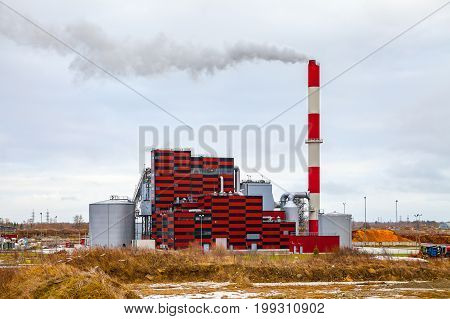 Thermal power station working with secondary wooden raw, Tallinn, Estonia