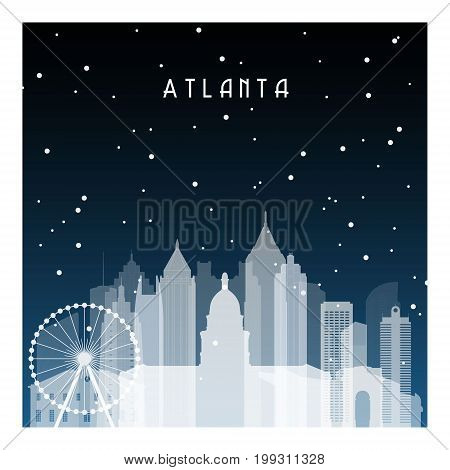 Winter night in Atlanta. Night city in flat style for banner poster illustration game background.