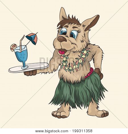 Vector illustration of a small papua puppy with a drink on a tray