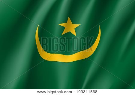 Mauritania flag. National patriotic symbol in official country colors. Illustration of Africa state waving flag. Realistic vector icon