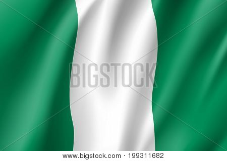 Nigeria flag. National patriotic symbol in official country colors. Illustration of Africa state waving flag. Realistic vector icon
