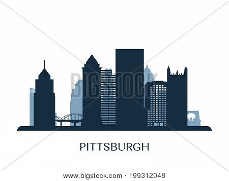 Pittsburgh skyline monochrome silhouette. City logotype. Vector illustration.