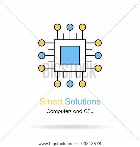 Vector linear logo. Caption - smart solutions. Blue and yellow icon of computer processor as element on website. Isolated on white background
