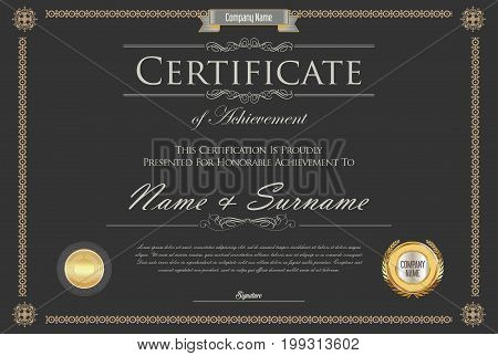 Certificate Or Diploma Retro Design Template 6.eps