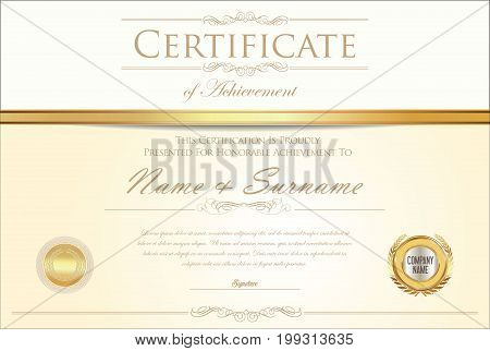 Certificate Or Diploma Retro Design Template 4.eps