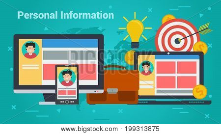 Vector concept of personal information. Account in internet, portfolio, man avatar and money in flat on green background