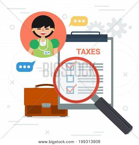 Vector square illustration. Female tax inspector with magnifier and check list. Concept of paying taxes online and tax service and inspection. Banner in flat style