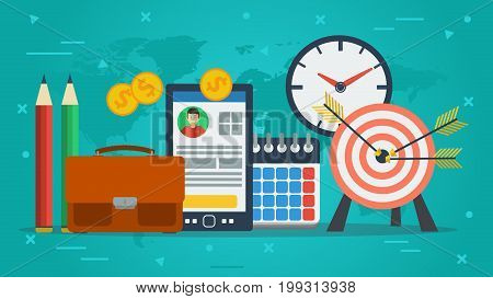 Vector concept of personal achievements and goals. Target, smart phone, clock and office items in flat on green background