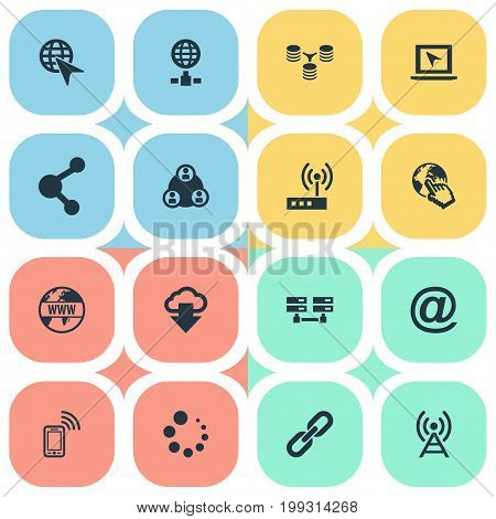 Elements Chain, Server Relationship, Antenna And Other Synonyms Group, Antenna And Phone.  Vector Illustration Set Of Simple Network Icons.