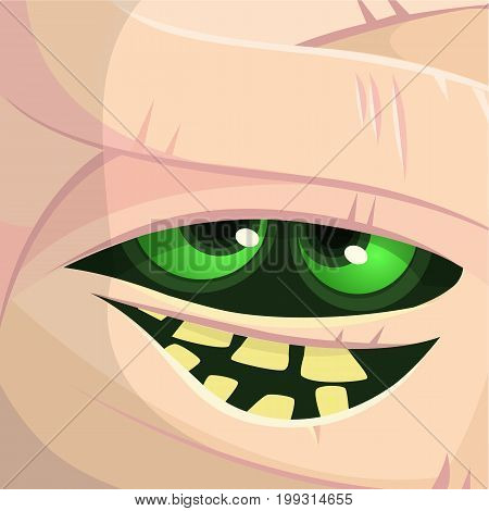 Scary cartoon monster mummy face vector. Cute square avatar or icon. Halloween illustration. Monster Card - Mummy.