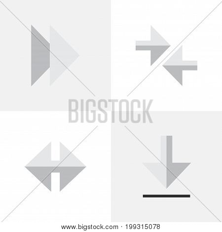 Elements Indicator, Export, Forward And Other Synonyms Forward, Arrow And Export.  Vector Illustration Set Of Simple Indicator Icons.