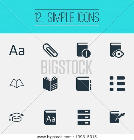 Elements History, Checklist, Mortar And Other Synonyms Checkbox, Notepad And Open.  Vector Illustration Set Of Simple Education Icons.