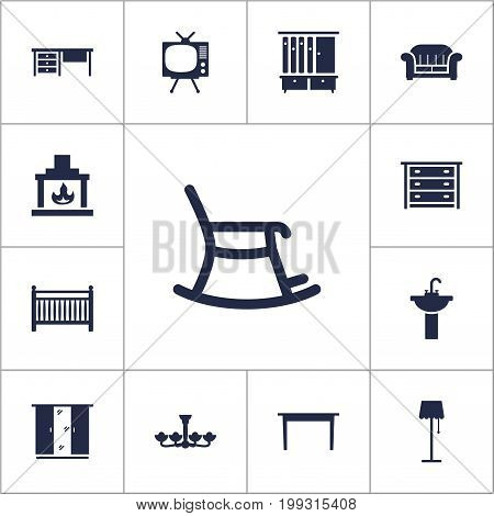 Collection Of Illuminator, Commode, Television And Other Elements.  Set Of 13 Decor Icons Set.