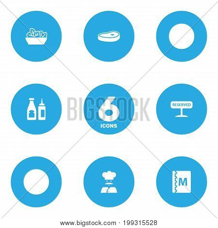Collection Of Book, Cook, Catsup And Other Elements.  Set Of 6 Bar Icons Set.