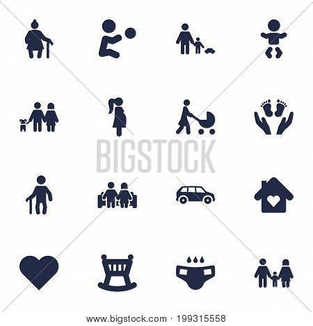 Collection Of Heart, Nappy, Perambulator And Other Elements.  Set Of 16 Relatives Icons Set.