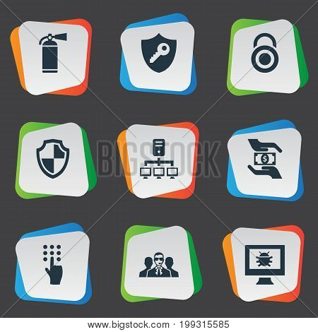 Elements Agent, Dartboard, Save Money And Other Synonyms Datacenter, Dartboard And Protection.  Vector Illustration Set Of Simple Security Icons.