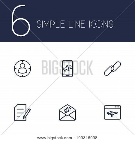 Collection Of Targeting, Copyright, Advertising And Other Elements.  Set Of 6 Optimization Outline Icons Set.
