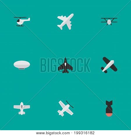 Elements Copter, Aviation, Plane And Other Synonyms Chopper, Airplane And Flying.  Vector Illustration Set Of Simple Aircraft Icons.