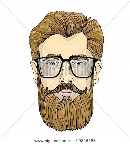 The face of a bearded man with glasses. Vector portrait illustration, isolated on white background.
