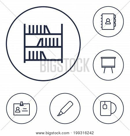 Collection Of Marker, Board Stand, Tea Elements.  Set Of 6 Office Outline Icons Set.