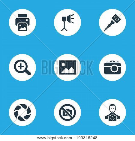 Elements Lens, Movable Camcorder, Apparatus Photographer And Other Synonyms Augment, Zoom And Image.  Vector Illustration Set Of Simple Photography Icons.