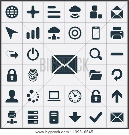 Elements Scroll, Magnifier, Down Arrow And Other Synonyms Okay, Target And Minus.  Vector Illustration Set Of Simple Application Icons.